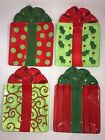 Fitz & Floyd Kringle Christmas Package Treat Plates, Candy Dish, Set of 4, GC