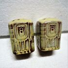 FRANKOMA AZTEC PATTERN SALT & PEPPER SHAKERS PERFECT CONDITION