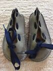 EUC BEAR FEET Texas Gray Leather Shoes with Blue Laces Bow Toddler Size 6