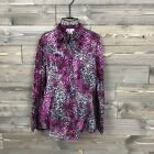 Womens Ariat L Pink Leopard Pearl Snap Button Down Long Sleeve 100 Cotton Top