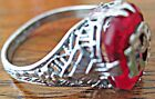 LADIES ANTIQUE STERLING SILVER ODD FELLOWS DAUGHTERS OF REBEKAH RING W RED STONE