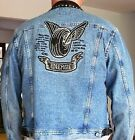 ENERGIE BLUE JEAN BIKER VINTAGE JACKET W LEATHER DESIGN IN THE BACK SZ XL
