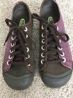 KEEN CORONADO Leather Canvas Womens Size 75 Brown Purple Lace Up Oxfords Shoes