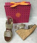 Tory Burch Daisy Wedge Sandal Gold Metallic Leather Laser Cut Out Shoes 10m
