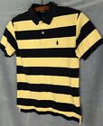 Polo Ralph Lauren Yellow  Blue Striped Cotton Mesh Polo Shirt Boys Small 8 10