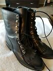 Justin Womens Roper Boots Size 6B L504 Lace Up Western USA Navy Blue Leather