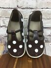 Puddle Jumper Girls Shoes Mary Jane Style Leather Brown White Polka Dot Size 12