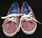 VANS Blue Red Peach Multi Striped Design Sneakers Size 5