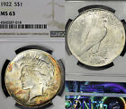 1922 P MS63 Peace Silver Dollar 1 NGC Graded Colorfully Toned
