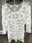 NEW NWT PHASE ONE Hippie Boho Festival Cruise Swimsuit Cover Up Lace Crochet