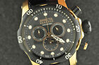 NICE MENS INVICTA RESERVE ROSE GOLD TONE + LEATHER CHRONOGRAPH WRISTWATCH