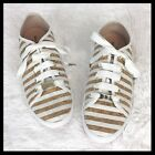 KATE SPADE 8 Cork Sneakers Stripe White Lace Up Flats Loafers Shoes Ledora New