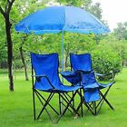 Double Folding Chair w Umbrella Table Cooler Fold Up Picnic Camping Beach Garden