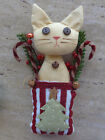 Tan Kitty Cat in Christmas Tree Pocket Handmade Button Berry Candy Cane Holiday