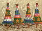 Set of 4 handmade Gingerbread fabric Christmas trees bowl fillers Home Decor