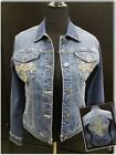 Ethyl Vintage Denim Button Up Jean Jacket with Bling  Cross Sz M Worn 1x