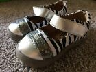 Itzy Bitzy Toddler Gilts Shoes Zebra Sparkly Sequin Silver Squeak Slip On
