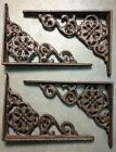 SET OF 4 VICTORIAN FLORAL SHELF BRACKET/BRACE, Antique Brown patina cast iron