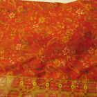 synthetic apparel fabric tomato red gold floral vintage 3 1/2 yards