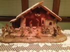 ANRI KUOLT 3 Nativity Set 19 Figures w Lighted Manger Hand Carved Wood Italy