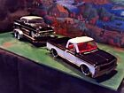 124 Scale Diecast3 pcSetBlack White72 Chevy pickup57 Bel Air +Car trailer