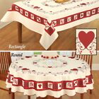 Country Hearts Stars Valentines Red Cream Tablecloth Round Rect Table Topper