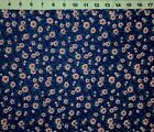 Floral FLANNEL fabric Pink  Red Flowers on Navy Blue Background by yard