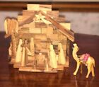 Christmas Nativity Handcrafted Israel Olive Wood Creche13 figures Good 7x8