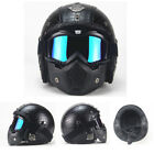 Open Face Motorcycle Helmet for Harley Davidson Scooter Leather Shell w Goggles