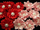Satin Ribbon Flowers lot Set of 6 Pearl Center DIY crafts Multi layer Pinwheel