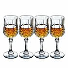 Old Fashioned Designed Carved Wine Crystal Glass Durable Set of 4 Size 55 Ounce