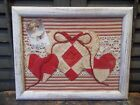 Primitive Valentine's Decoration - Antique Quilt Hearts in Painted Wood Frame