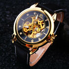 Unique Men's Skeleton Automatic Mechanical Wristwatch Leather Band Analog Watch