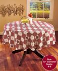 Round Tablecloth Checkered Hearts  Stars 70 Country Decor Seat 4 6 Plaid Vines