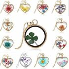 Natural Clover Dried Flower Gold Heart Glass Locket Pendant Necklace Mom Jewelry