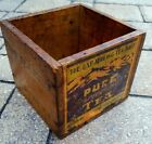 vintage Pure Darjeeling Tea wood crate box antique paper label