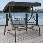 Outdoor Patio Canopy Swing Chair Iron 2 Person Awning Bench Deck Furniture Black