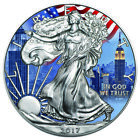 Silver American Eagle New York City Colorized Coin Patriotic US Flag + BOX CoA