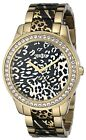 Guess Women's Gold-Tone Leopard Print and Sparkle Crystal Watch - U0465L1