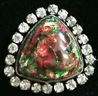 GORGEOUS ANTIQUE 1800S GREEN  RED POPPER GLASS IN METAL BUTTON PASTE BORDER
