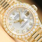 LADIES ROLEX PRESIDENT 18K YELLOW GOLD SILVER DIAMOND DIAL, BEZEL