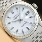 ROLEX MENS WHITE DIAL DATEJUST 18K WHITE GOLD & STAINLESS STEEL WATCH