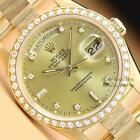 MENS ROLEX DAY-DATE PRESIDENT FACTORY DIAMOND DIAL 18K YELLOW GOLD WATCH