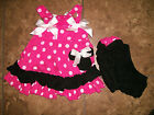 Infant Girl Boutique Pink Black Minnie mouse Swing Top Outfit Ruffled Sz S 6 9 M
