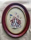 Vintage Oval Shadow Box Wood Picture Frame With Bucilla Needlepoint Baroque Lady