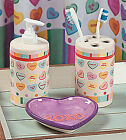 Conversation Hearts XOXO Valentines Hugs Kisses Love Bathroom Accessory Set NEW