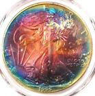 1995 Toned American Silver Eagle Dollar 1 ASE PCGS MS67 Rainbow Toning Coin