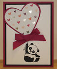 Panda Valentine GREETING CARD KIT Lot of 4 All Stampin Up Supplies Heart