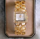 * nEW oLD sTOCK * LOVELY Women's ELIZABETH TAYLOR SQUARE Watch / Crystal Accents