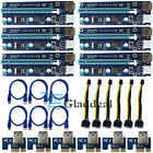 6 Pack PCI E Express 1x to16x Extender Riser Adapter Card USB30 SATA 6Pin Cable